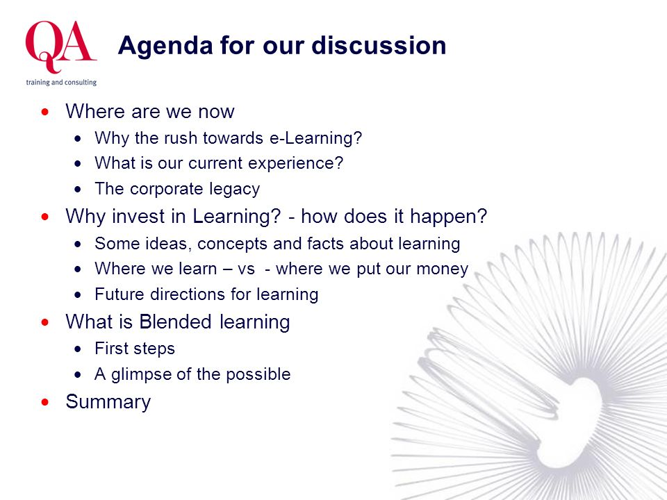 Agenda for our discussion