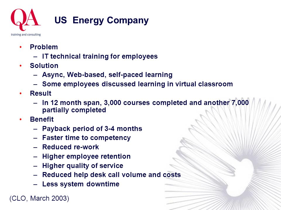 US Energy Company Problem IT technical training for employees Solution