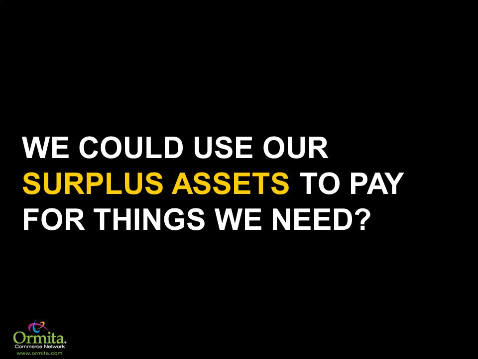 WE COULD USE OUR SURPLUS ASSETS TO PAY FOR THINGS WE NEED
