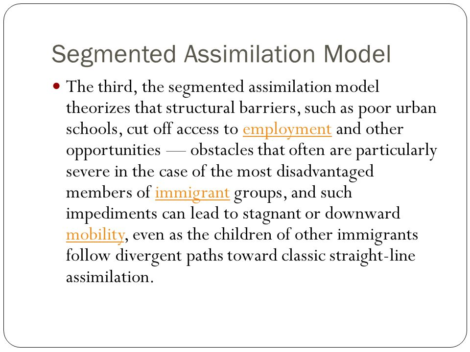 Segmented Assimilation Model