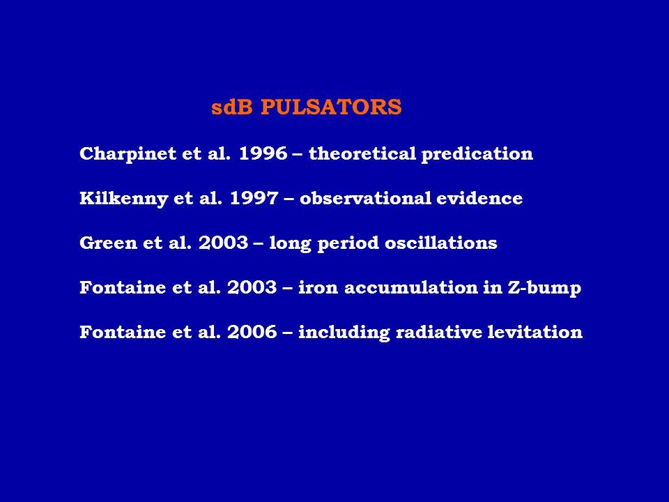 sdB PULSATORS Charpinet et al. 1996 – theoretical predication. Kilkenny et al. 1997 – observational evidence.
