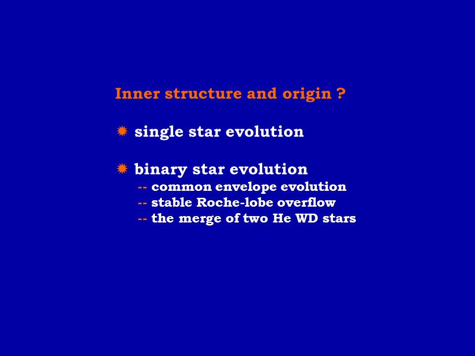 Inner structure and origin  single star evolution