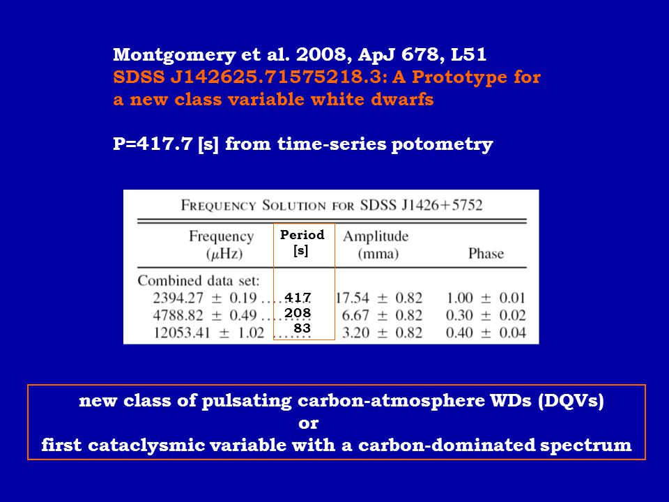 a new class variable white dwarfs