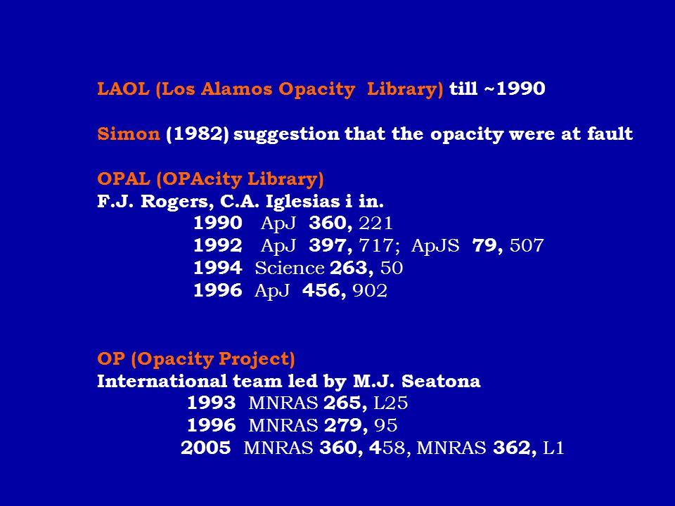 LAOL (Los Alamos Opacity Library) till ~1990
