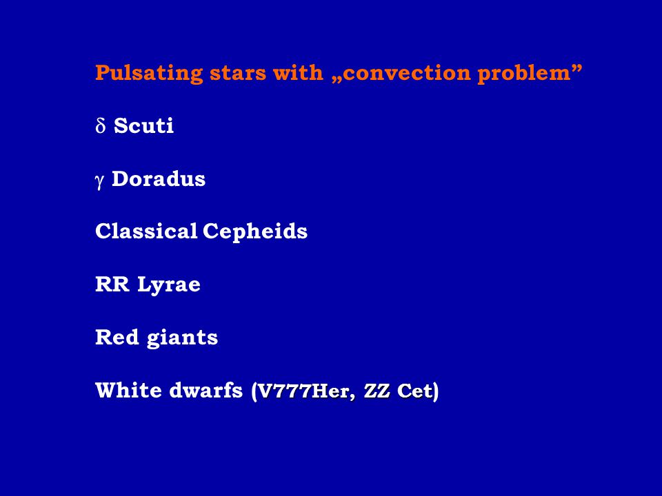 "Pulsating stars with ""convection problem"