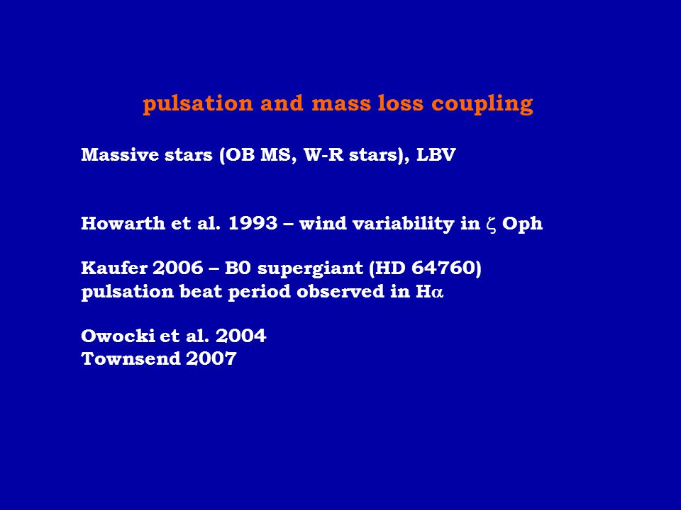 pulsation and mass loss coupling