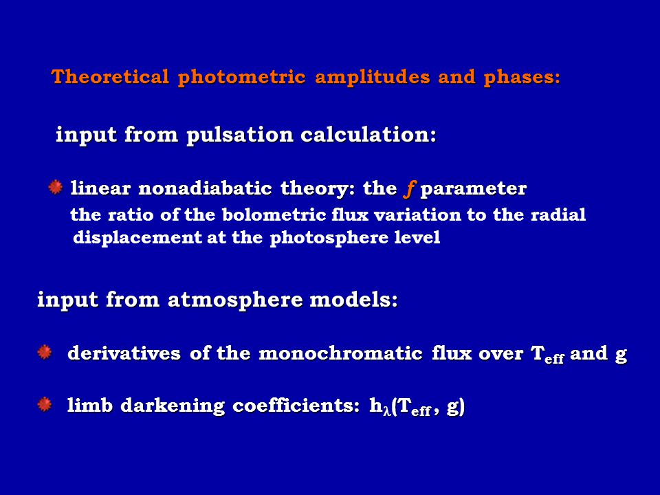 input from pulsation calculation: