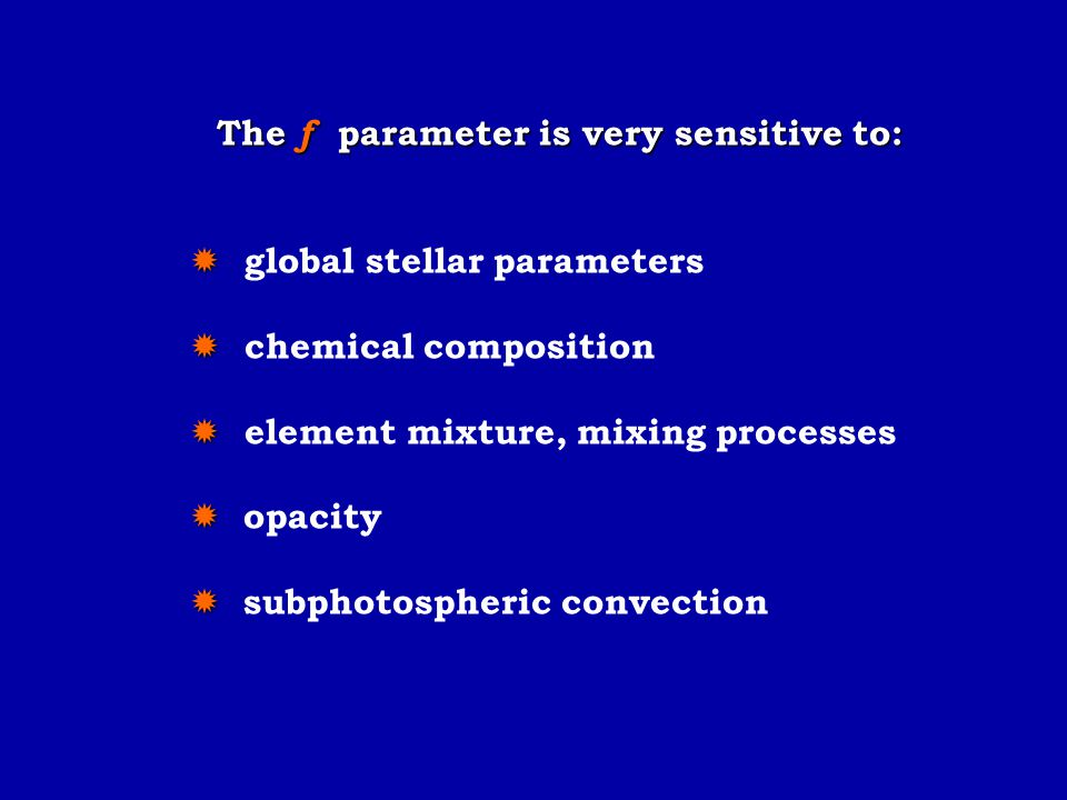 The f parameter is very sensitive to: