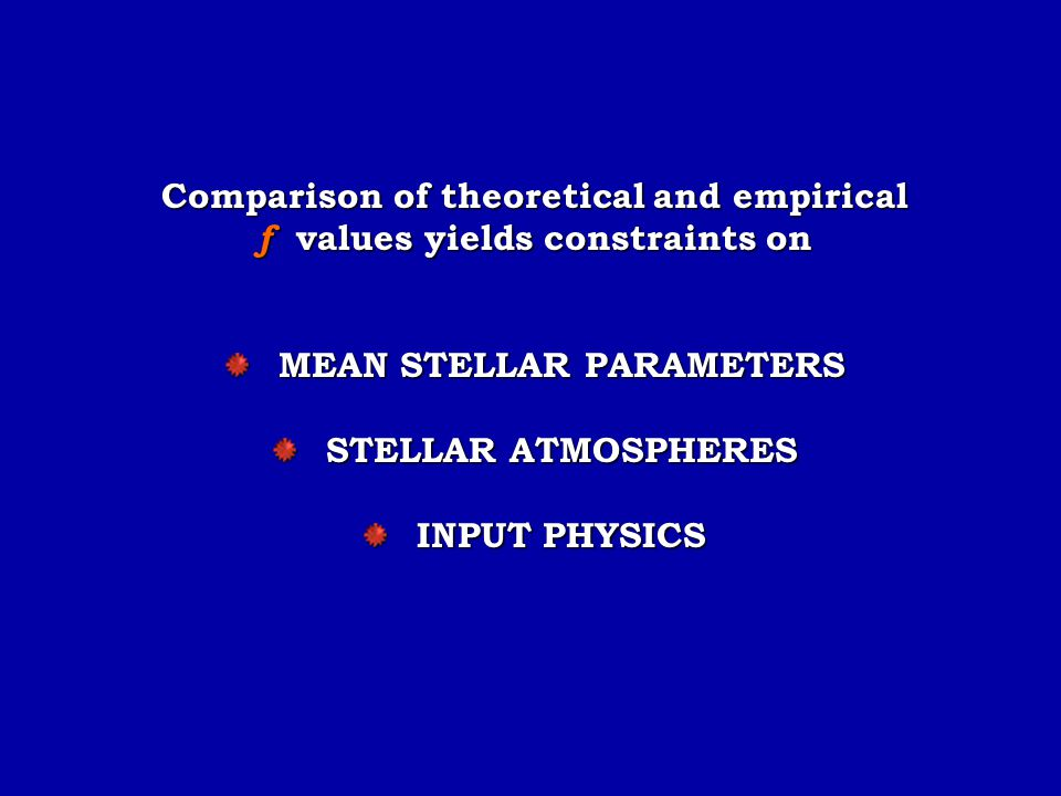 Comparison of theoretical and empirical f values yields constraints on