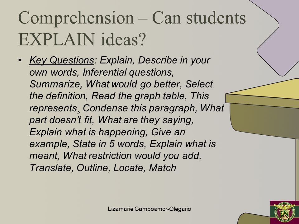 Comprehension – Can students EXPLAIN ideas