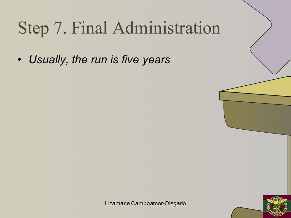 Step 7. Final Administration