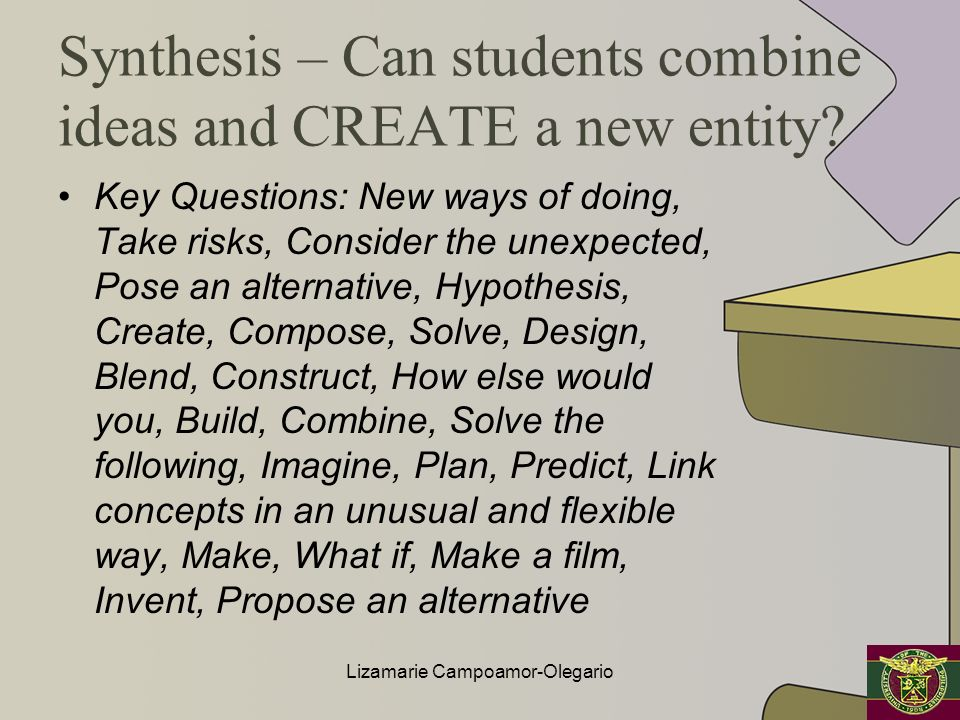 Synthesis – Can students combine ideas and CREATE a new entity