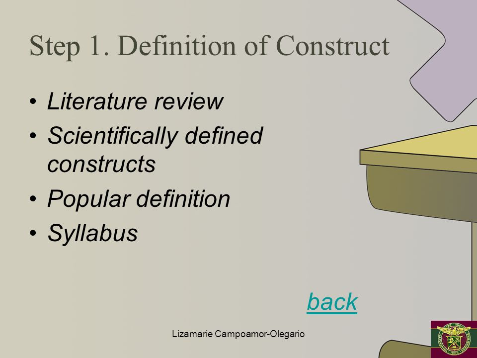 Step 1. Definition of Construct