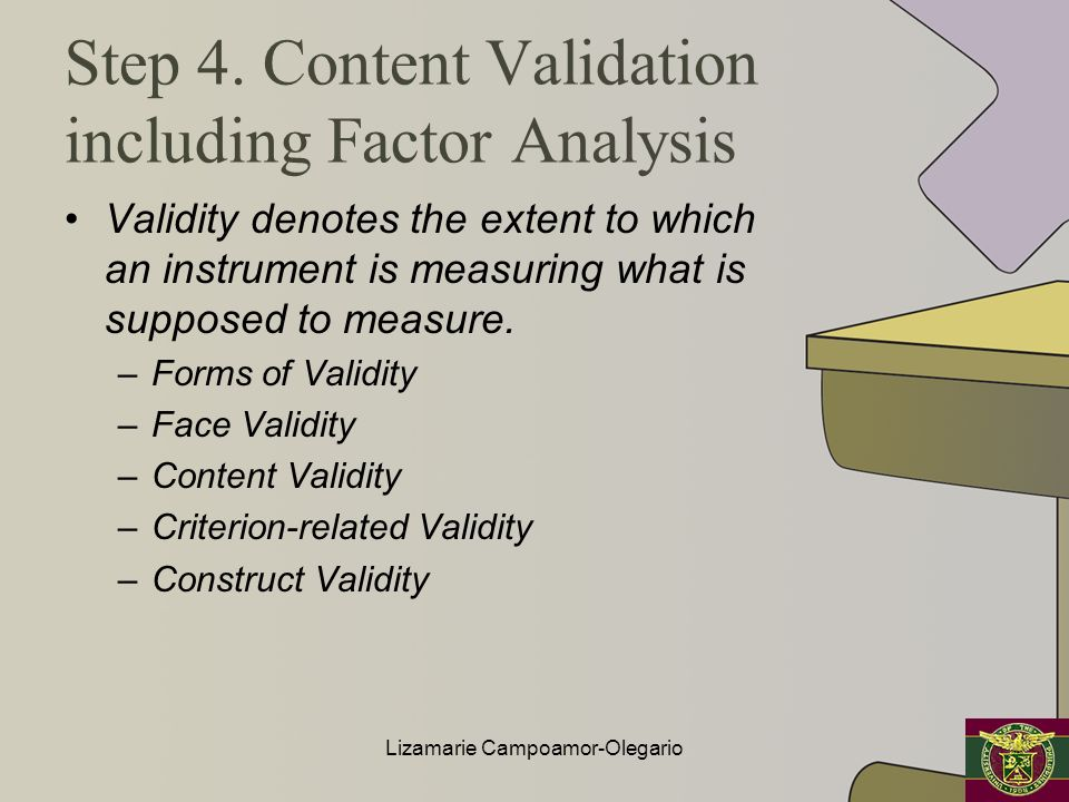 Step 4. Content Validation including Factor Analysis