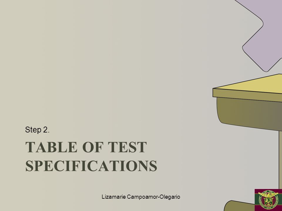 Table of test specifications