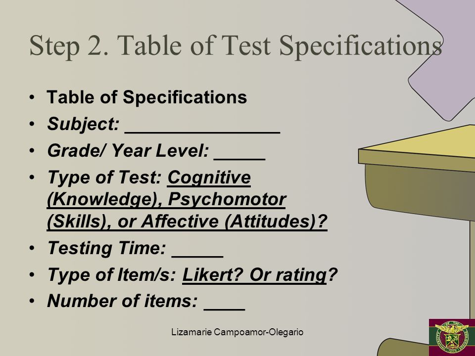 Step 2. Table of Test Specifications