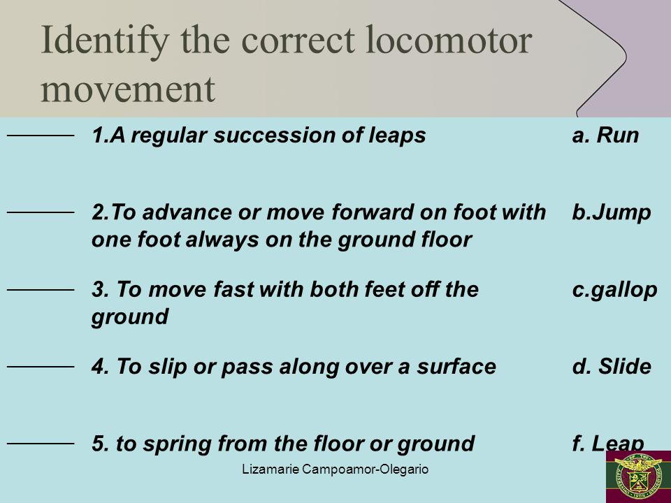 Identify the correct locomotor movement