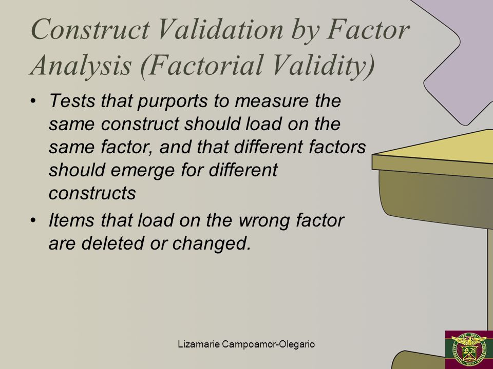 Construct Validation by Factor Analysis (Factorial Validity)