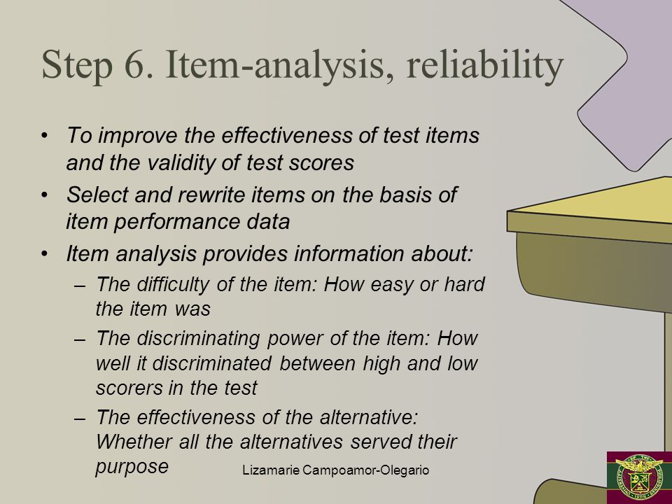 Step 6. Item-analysis, reliability