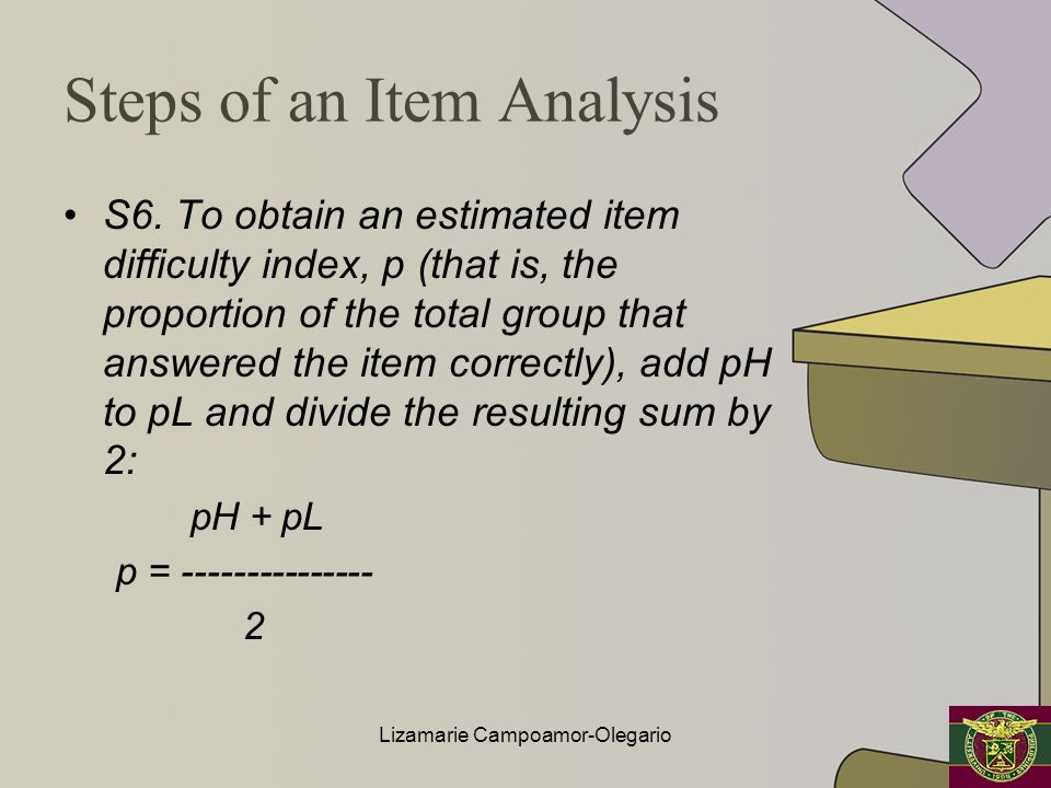 Steps of an Item Analysis