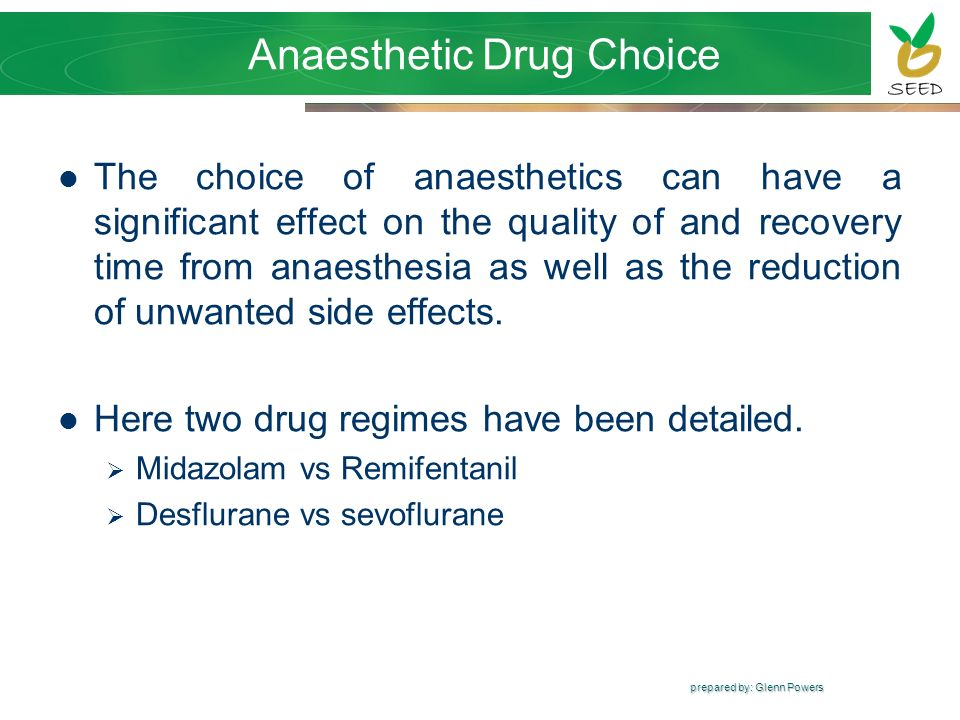 Anaesthetic Drug Choice