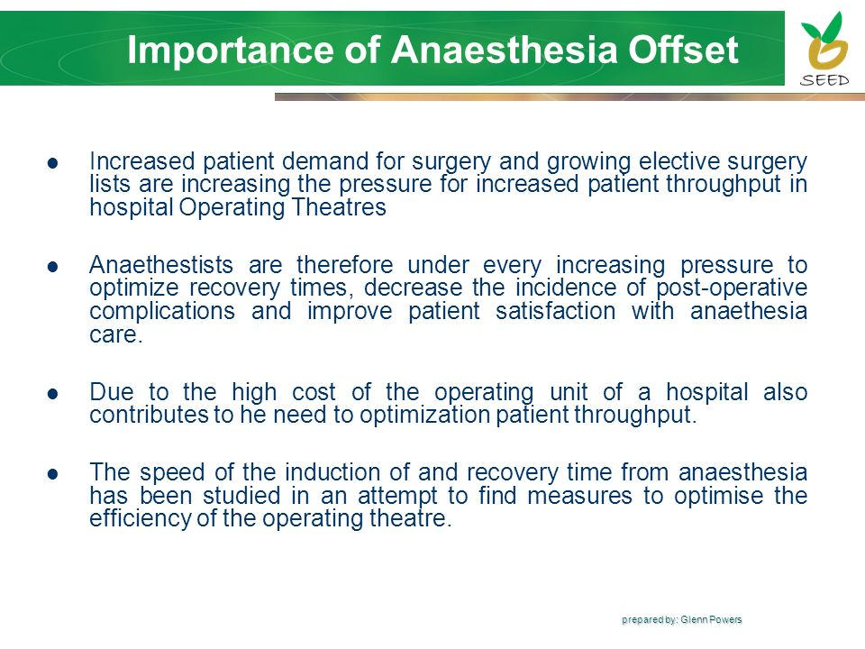 Importance of Anaesthesia Offset
