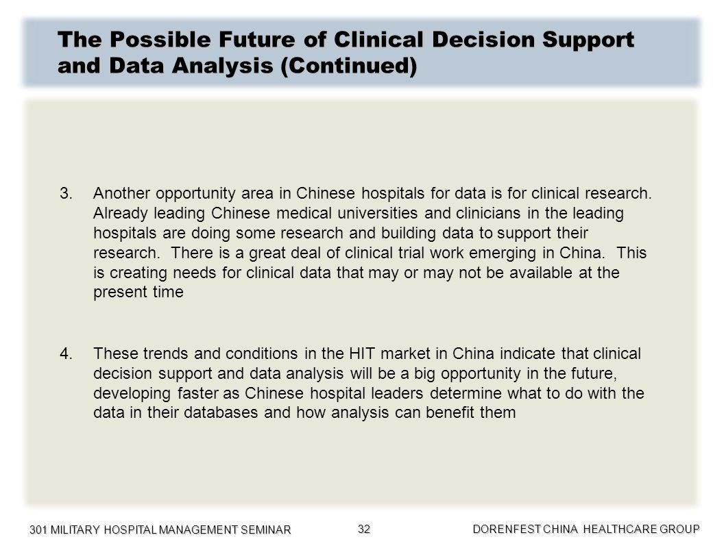 The Possible Future of Clinical Decision Support and Data Analysis (Continued)