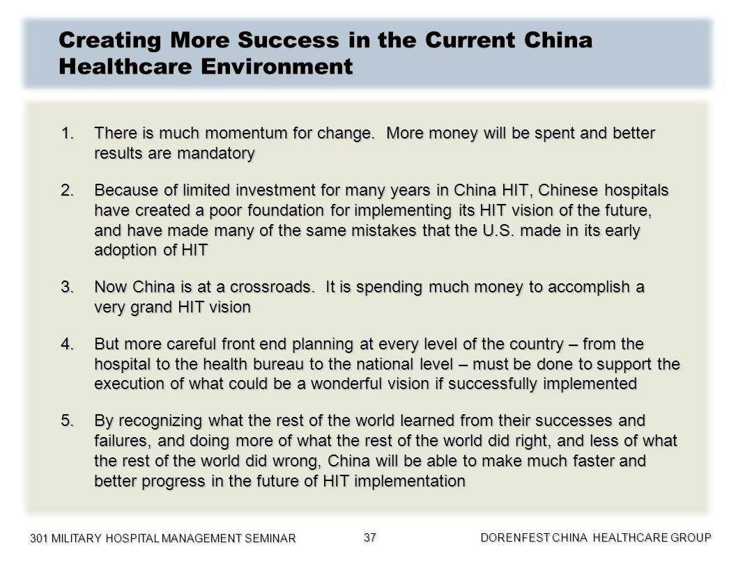 Creating More Success in the Current China Healthcare Environment