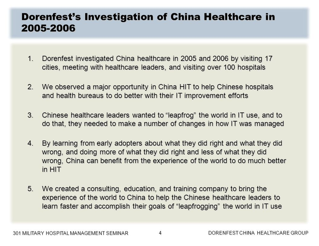 Dorenfest's Investigation of China Healthcare in