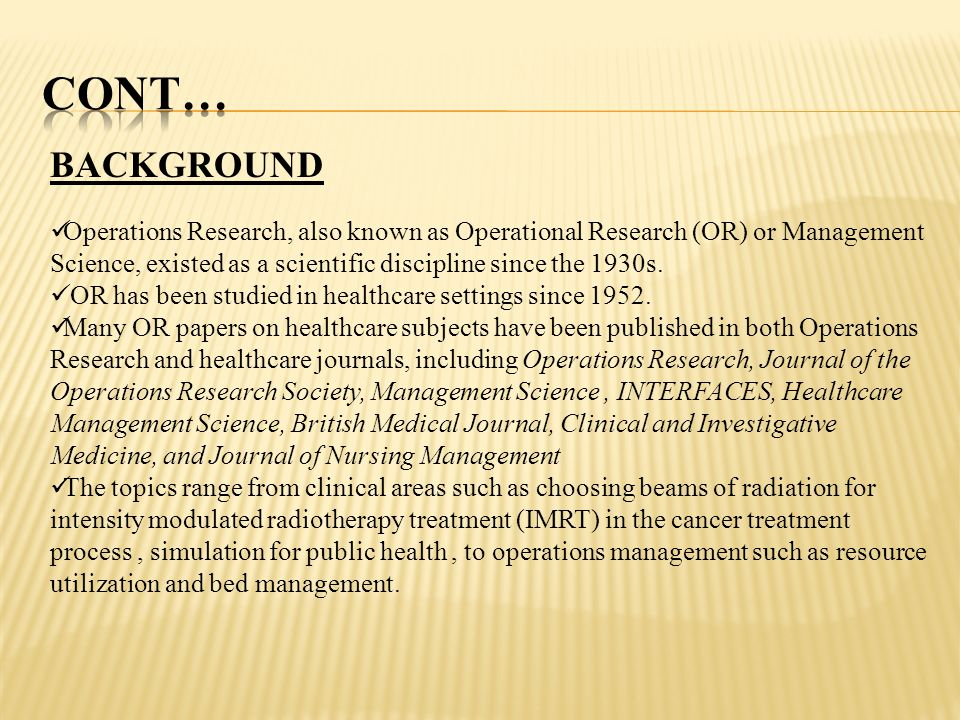 Research Paper On Operation Research