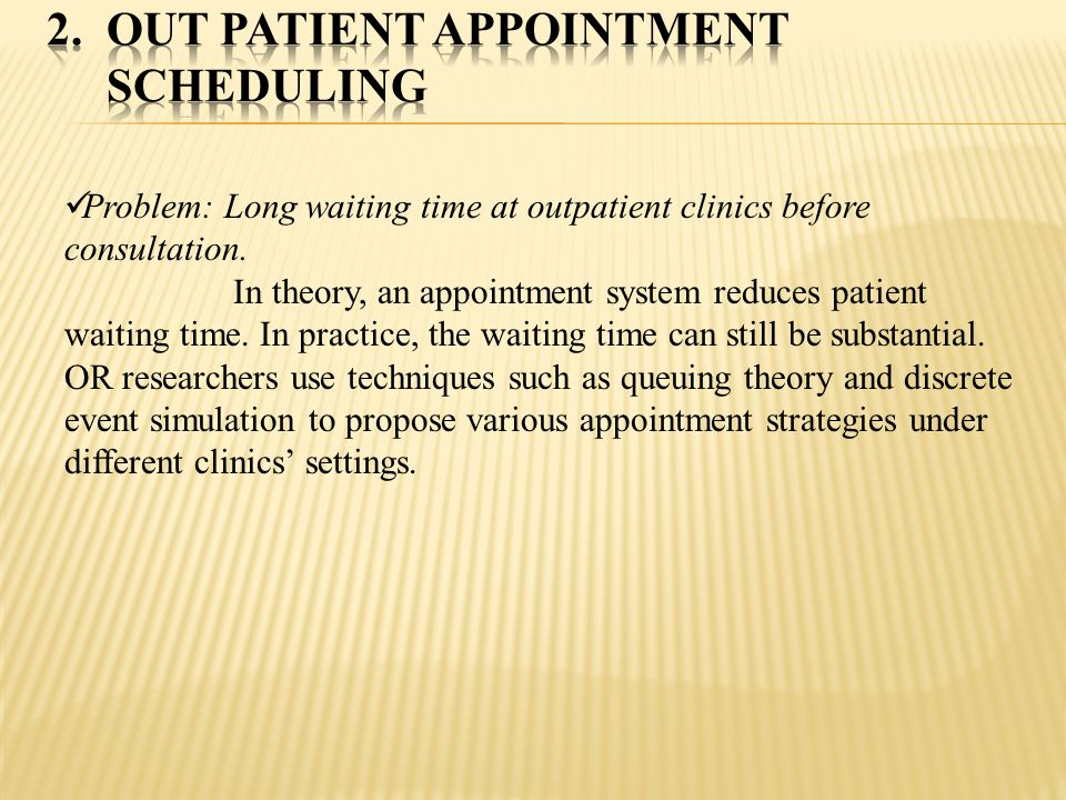 Out patient Appointment Scheduling