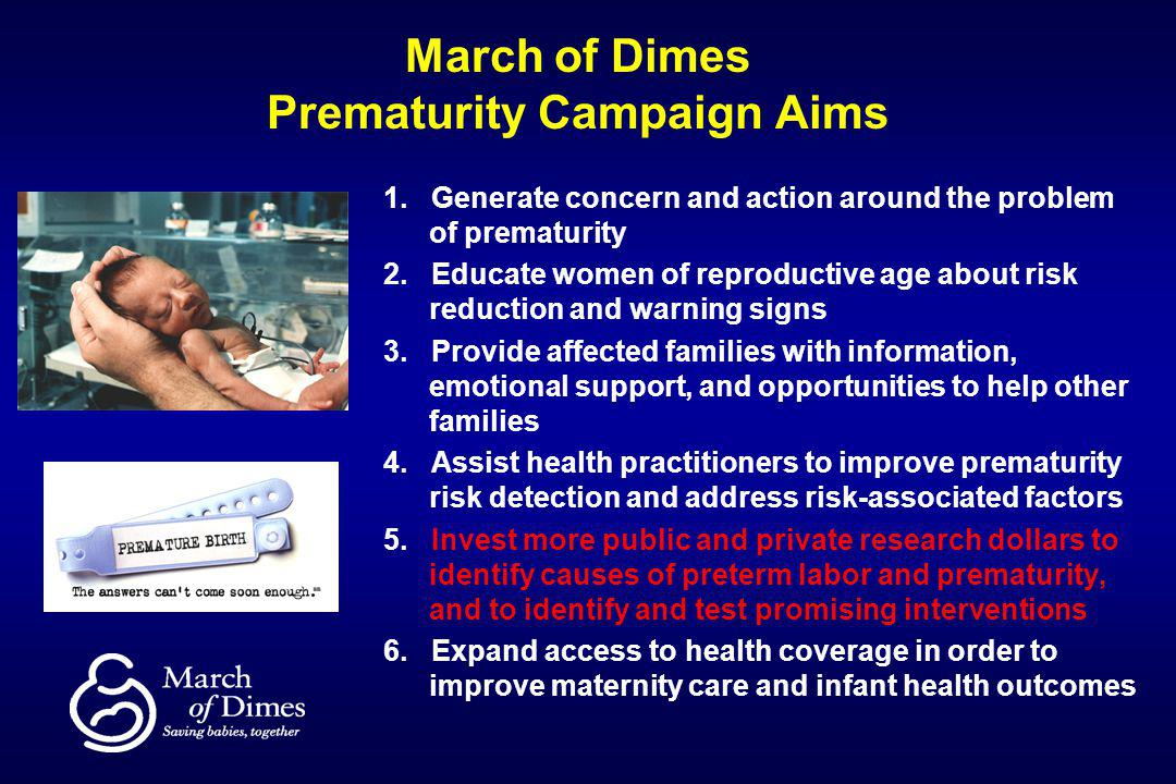 March of Dimes Prematurity Campaign Aims