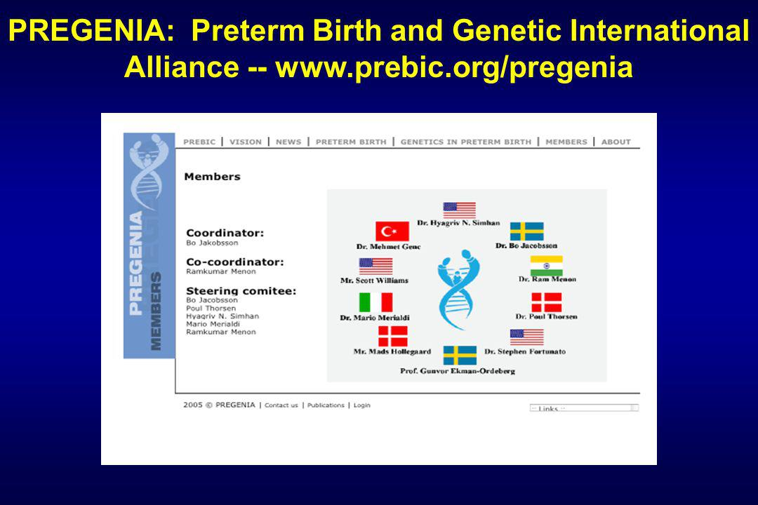 PREGENIA: Preterm Birth and Genetic International Alliance -- www