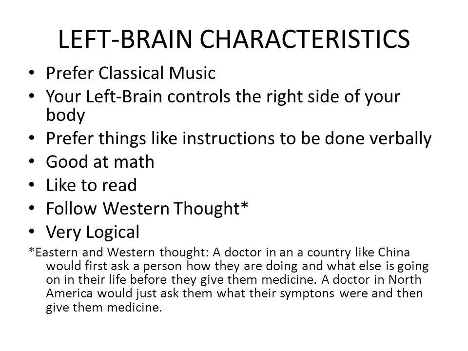 LEFT-BRAIN CHARACTERISTICS