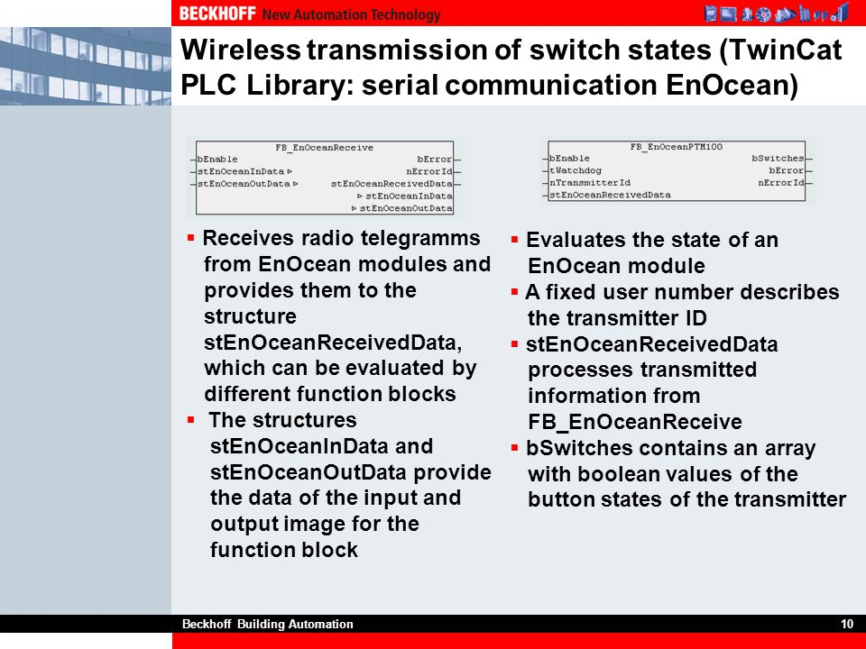 Wireless transmission of switch states (TwinCat PLC Library: serial communication EnOcean)