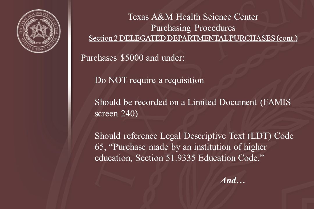 Texas A&M Health Science Center Purchasing Procedures