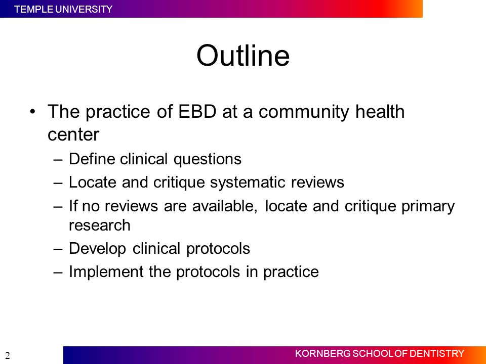 Outline The practice of EBD at a community health center