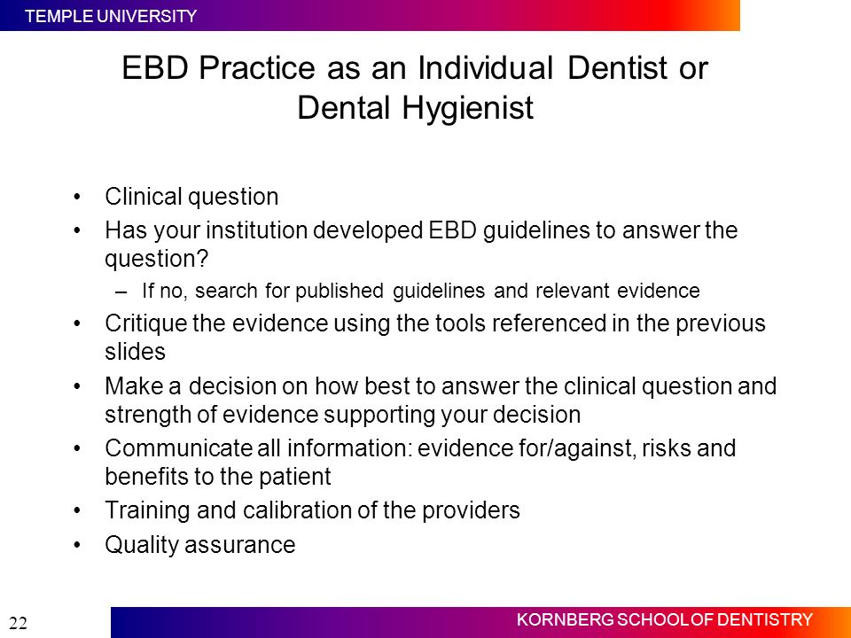 EBD Practice as an Individual Dentist or Dental Hygienist