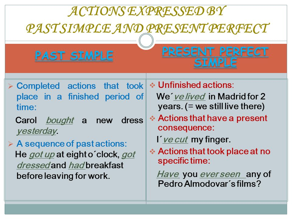 ACTIONS EXPRESSED BY PAST SIMPLE AND PRESENT PERFECT