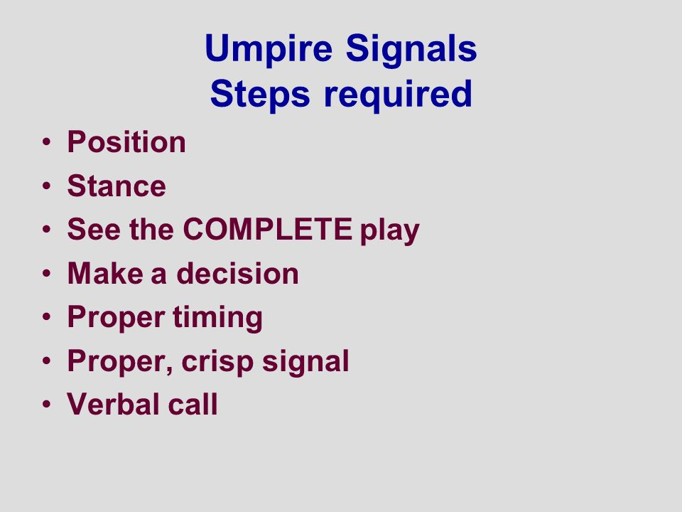 Umpire Signals Steps required