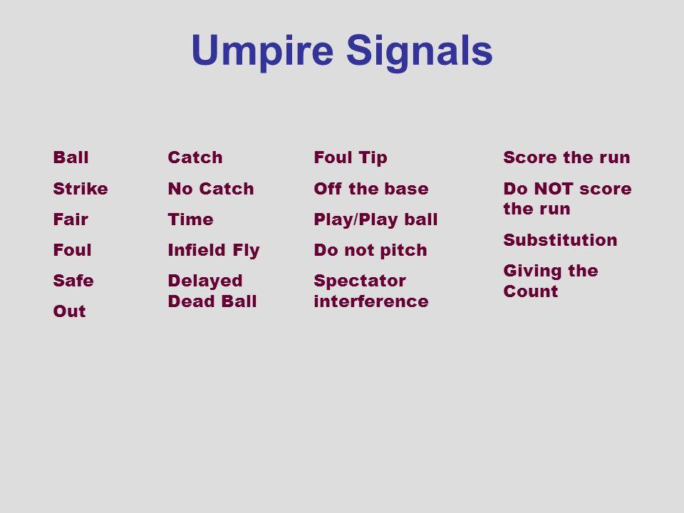 Umpire Signals Ball Strike Fair Foul Safe Out Catch No Catch Time
