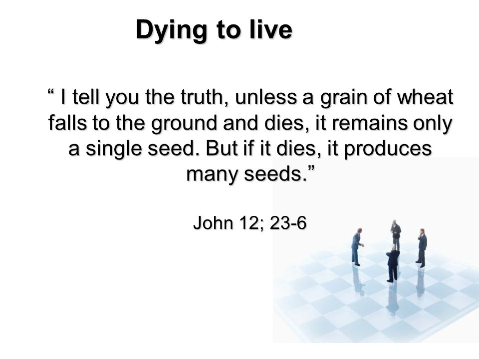 Dying to live I tell you the truth, unless a grain of wheat