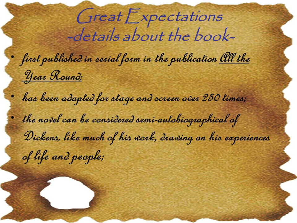 Great Expectations -details about the book-