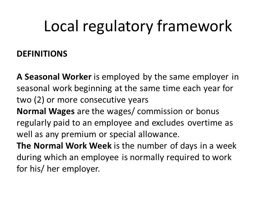 Local regulatory framework