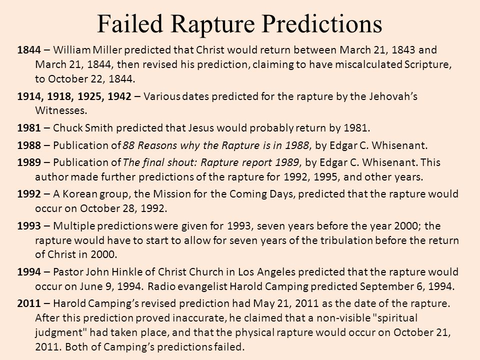 Failed Rapture Predictions
