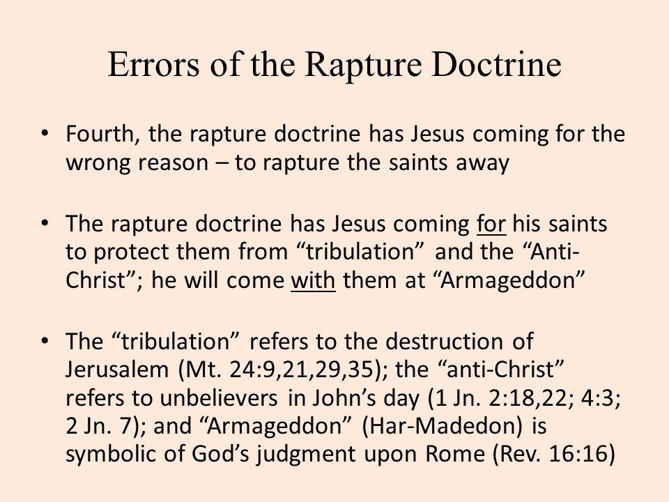 Errors of the Rapture Doctrine