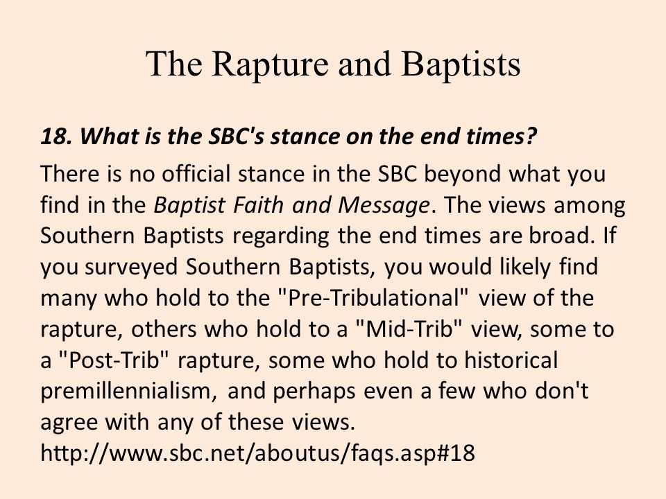 The Rapture and Baptists