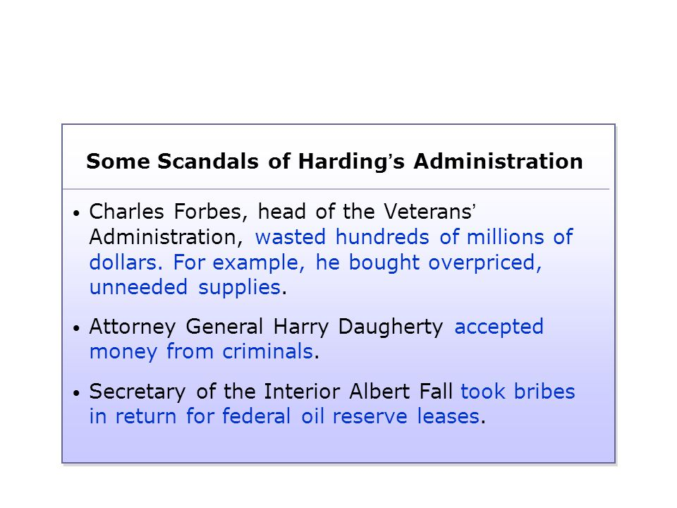 Some Scandals of Harding's Administration