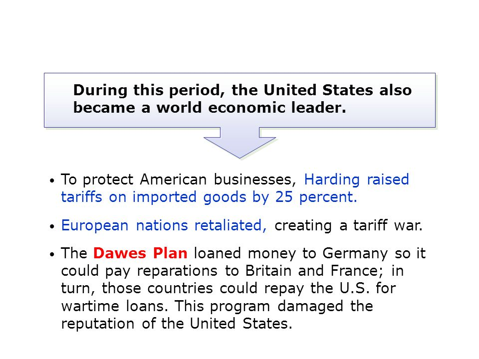 During this period, the United States also became a world economic leader.