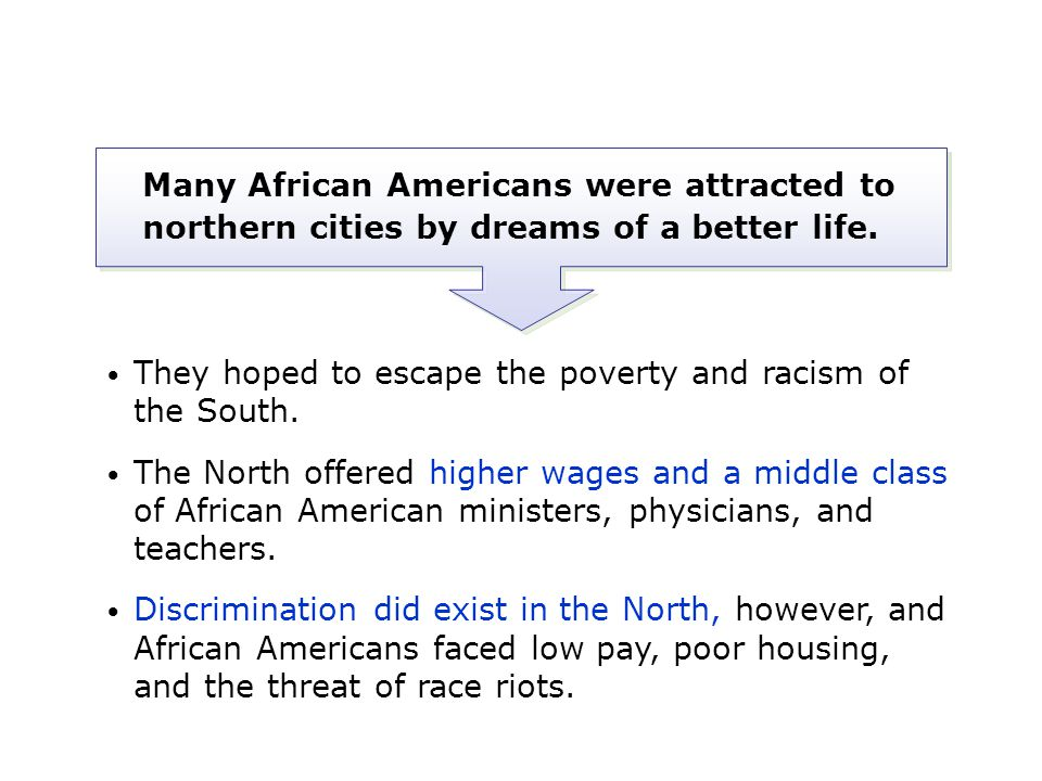 Many African Americans were attracted to northern cities by dreams of a better life.